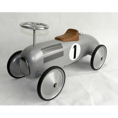 Scoot Along Racer Ride On Car in Silver