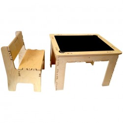 Flip Top Dry Erase & Chalk Table with 1 Bench (Natural)